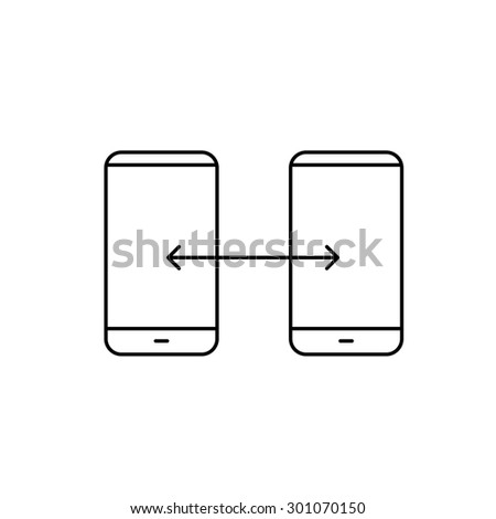 Vector linear phone and technology icons with syncing gesture transfering between two smartphones | flat design thin line modern black illustration and infographic on white background - stock vector