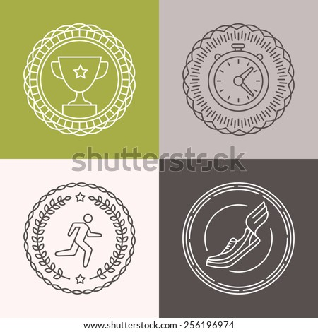 Vector linear running badges and icons - sport illustrations in outline style for marathons - stock vector
