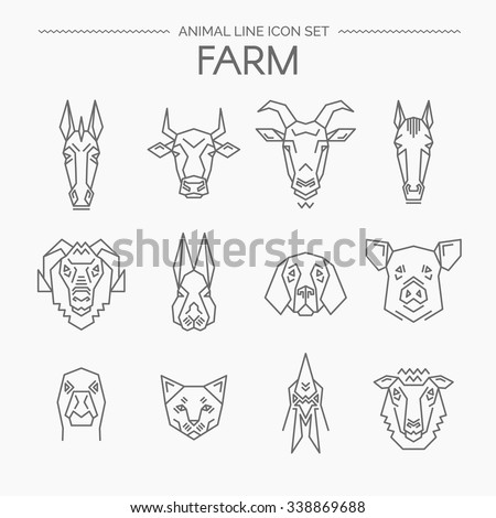 Vector linear set of farm animals.Animals design vector icons.Thin line style. - stock vector