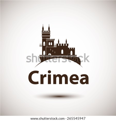 Vector linear symbol of Crimea. The castle Swallow's Nest near Yalta, Ukraine - Russia. City skyline