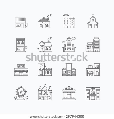 vector linear web icons set - buildings collection of flat line city design elements.  - stock vector
