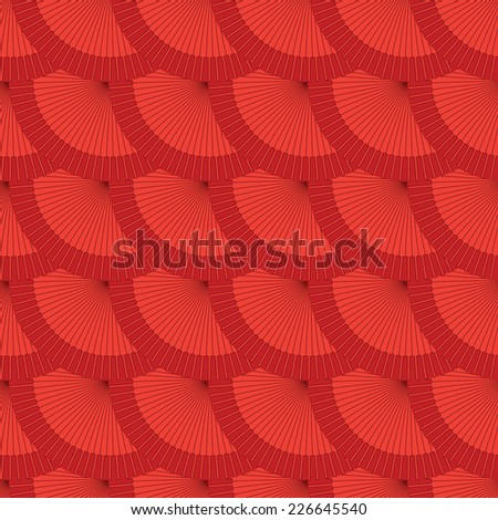 vector lined red flamenco fan seamless optical wallpaper background pattern design - stock vector