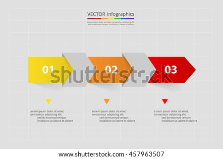 Vector lines arrows infographic. Template for diagram, graph, presentation and chart. Business concept with 3 options, parts, steps or processes.