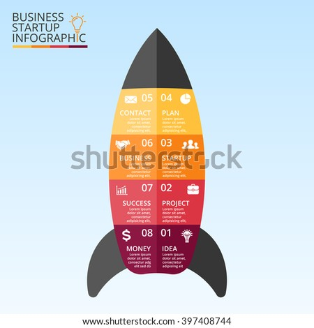 Vector lines arrows infographic. Template for startup rocket diagram, graph, presentation, chart. Business concept infographics with 8 options, parts, steps or processes.  - stock vector
