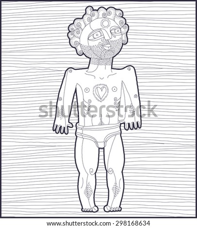 Vector lines illustration of nude man, Adam concept. Hand drawn black and white  image of person symbolizing love and goodness.  - stock vector