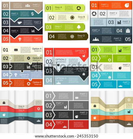 Vector lines infographics set. Template for diagram, graph, presentation and chart. Business concept with 4, 5 options, parts, steps or processes. - stock vector