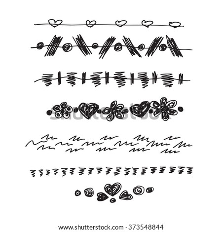 Vector lines set of hearts on a white background. Hand drawn strokes collection. Doodle patterns, borders set. Design elements. - stock vector