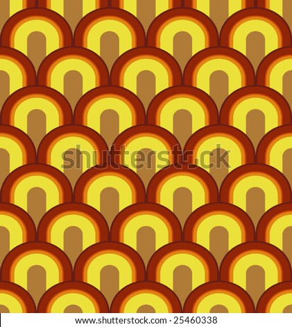 Vector Linked Arches Seamless Seventies Style Inspired Wallpaper - stock vector