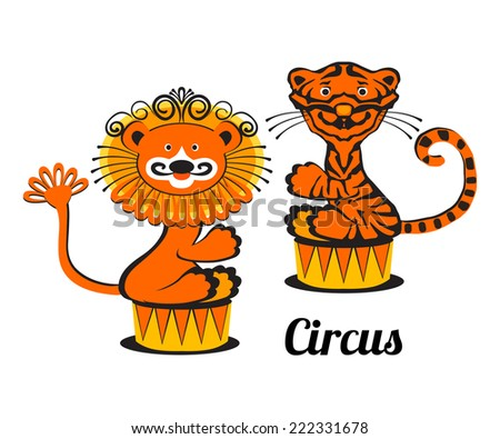 Vector Lion and Tiger, isolated, for your circus poster design - stock vector