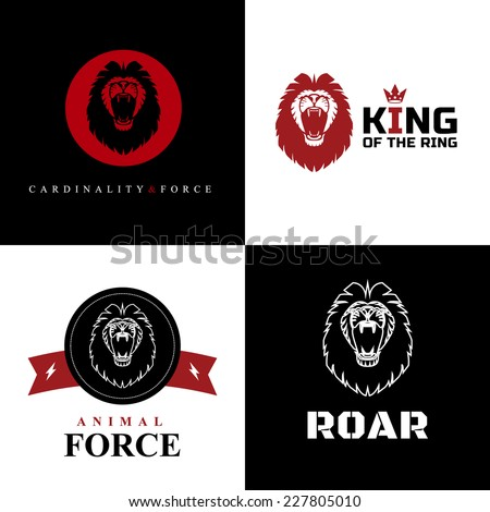Vector Lion Logo Graphic Designs on Black and White Background. - stock vector