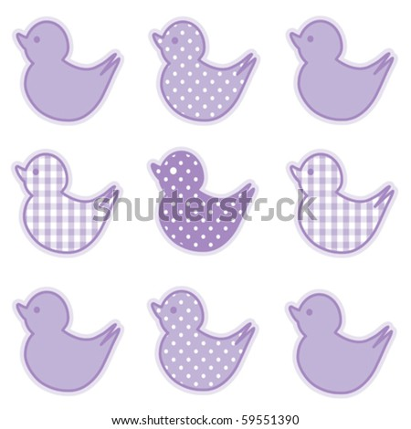 vector - Little Duckies in pastel lavender gingham and polka dots for baby books, scrapbooks and albums. EPS8 compatible. - stock vector