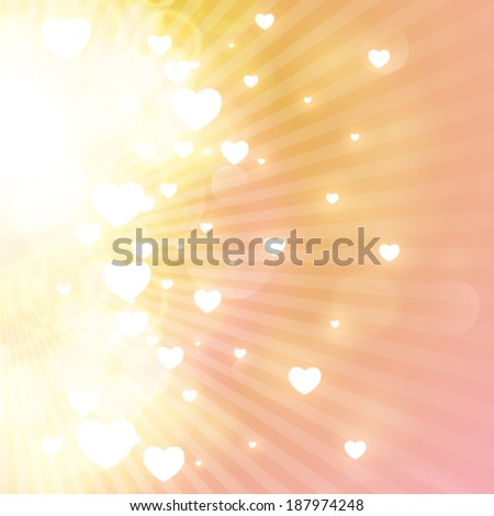 Vector little hearts floating on rays of light. - stock vector