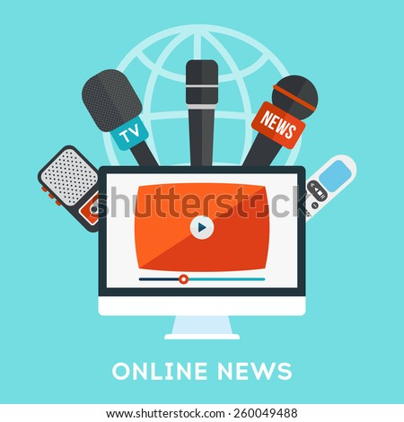 Vector live report concept, live news, microphones,  tape recorders and computer with video. Online news broadcasting icon in flat design - stock vector