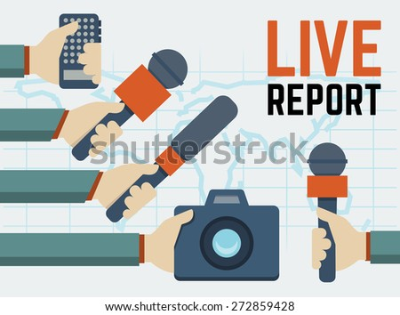 Vector live report, live news concept, hands of journalists with microphones, tape recorder and photo camera - stock vector
