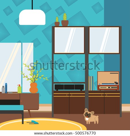Vector living room interior with cupboard, pier-glass and player in the style of 70's.