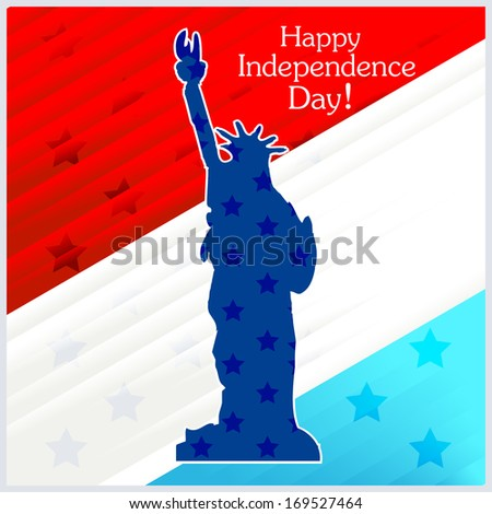 Vector llustration of Statue of Liberty on colorful background for Independence Day  - stock vector