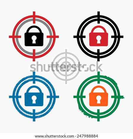 Vector lock icon on target icons background. Crosshair icon. Vector illustration. - stock vector