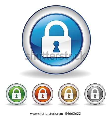 vector lock icon set - stock vector