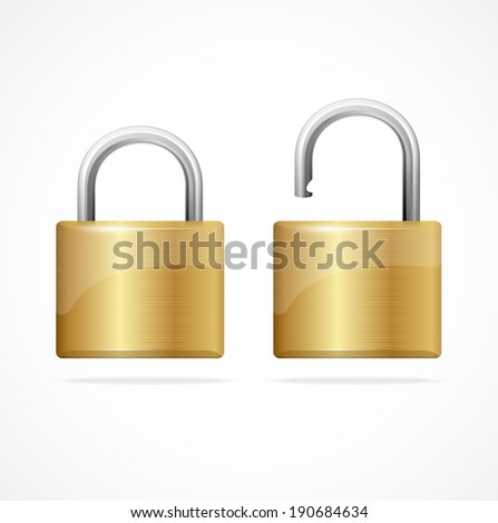 Vector locked and unlocked padlock gold isolated - stock vector