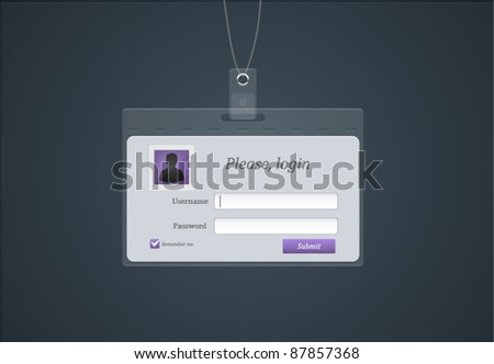 Vector login form in a shape of badge - stock vector