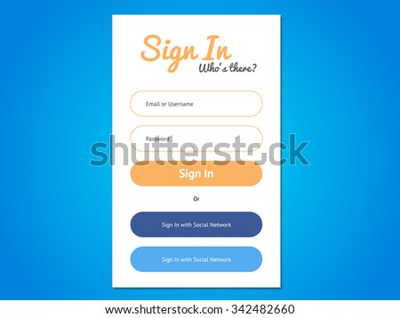 Vector login form ui element in flat style - stock vector