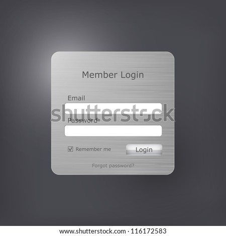 Vector login form with brushed metal texture