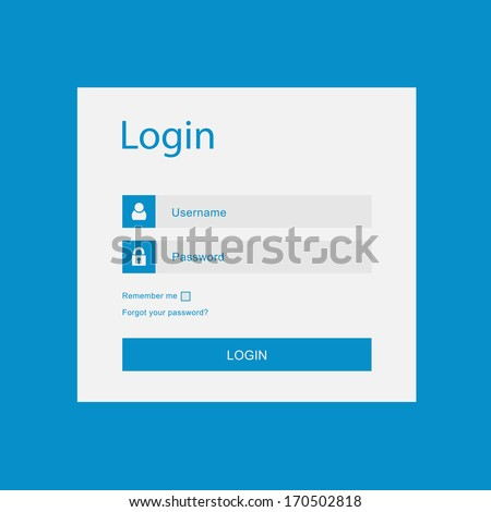 Vector login interface - username and password - stock vector