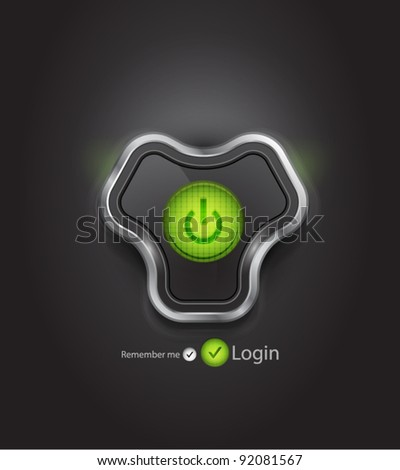 Vector login page with futuristic power button - stock vector
