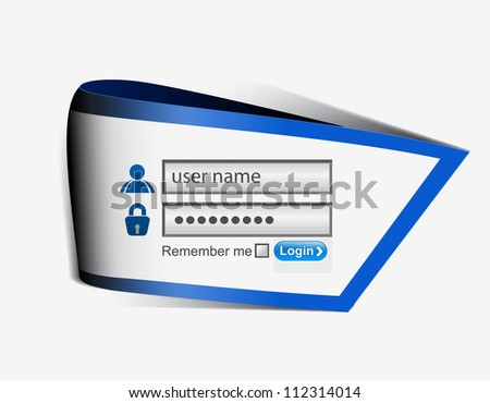 Vector login password, security window screen, web form templates. - stock vector