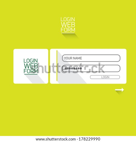 vector Login website template flat design. EPS8. green website template - stock vector