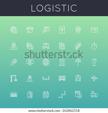 Vector Logistic Line Icons - stock vector