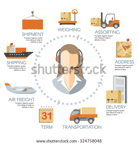 Vector logistics infographics. Chain delivery warehouse, transportation cargo service illustration - stock vector