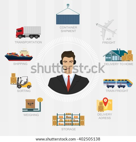 Vector logistics manager agent concept. Delivery move cargo service illustration. - stock vector