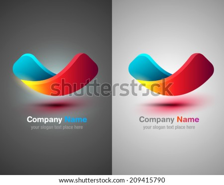 Vector logo abstract shapes. Colorful design template. Ribbon shapes. Check - stock vector