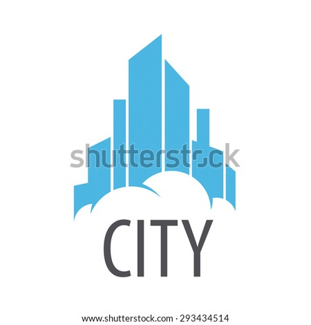 vector logo Blue City on the cloud - stock vector