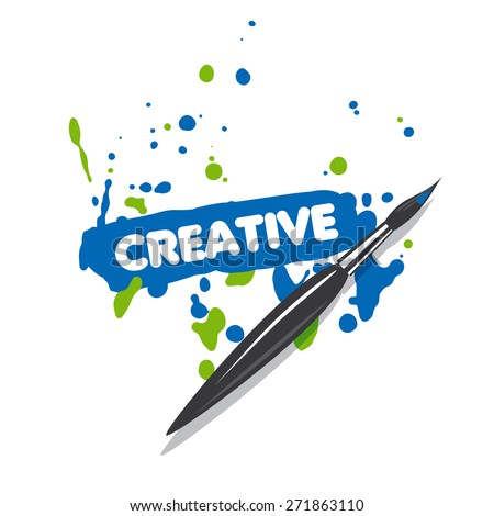 vector logo brush and blue and green spray paint - stock vector