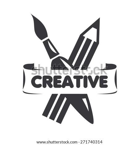 vector logo brush and pencil for creativity - stock vector