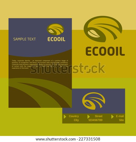 Vector logo, business card and cover for the production and sale of organic oils. The design concept. - stock vector