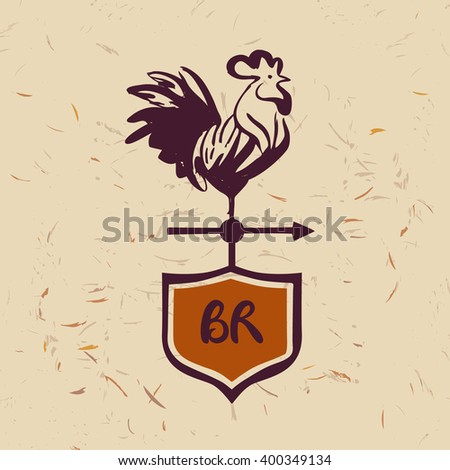 Vector logo. Chicken farm. Products from chicken meat and eggs. Hand drawn silhouette illustration rooster on shield. Best rooster product. - stock vector