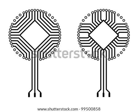 vector logo circuit tree - stock vector