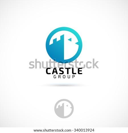Vector logo design, castle in circle symbol icon. Logotype template. - stock vector