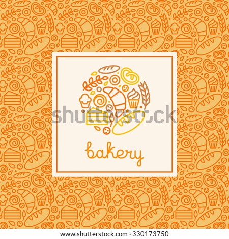 Vector logo design element made with linear icons - bakery concepts and menu covers in trendy linear style with outline icons - stock vector