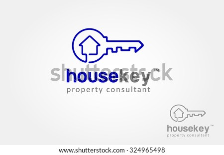 Vector logo design element on white background. Real estate, key, house or home made from one direction line. it's modern, simple and clean design. - stock vector