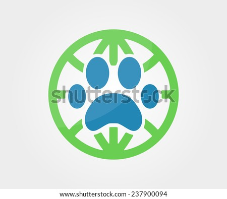 Vector logo design element. Paw, animal, globe, earth - stock vector