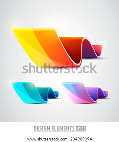 Vector logo design elements. Colorful design template. Color icon shapes set. Abstract flowers - stock vector