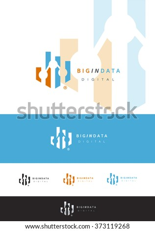 VECTOR LOGO DESIGN FOR ANY DATA AND STATISTICS COMPANY - stock vector