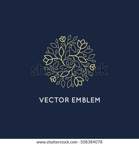 Vector logo design template and emblem made with leaves and flower - badge for yoga studios, handcrafted jewelry and organic food products - hand made cosmetics concept