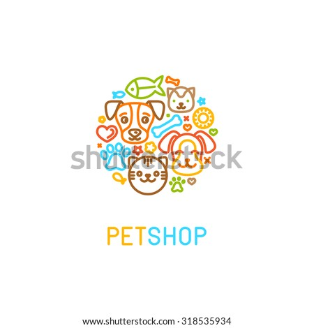 Vector logo design template for pet shops, veterinary clinics and homeless animals shelters - circle made with mono line icons of cats and dogs - badge for websites and prints - stock vector