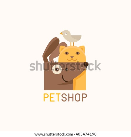 Vector logo design template for pet shops, veterinary clinics and homeless animals shelters -cat, dog and bird - friendly pets - badge for websites and prints