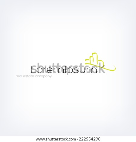 Vector logo design template - hand drawn calligraphic style cityscape  - stock vector